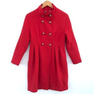 100% Wool Red Pleated Coat
